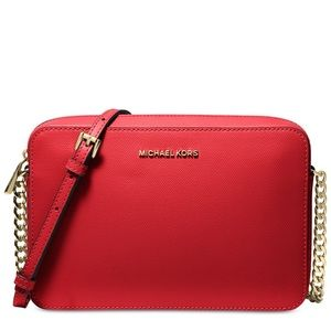 Michael Kors red leather cross body purse